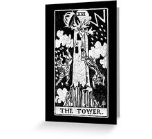 The Tower Tarot Card - Major Arcana - fortune telling - occult Greeting Card