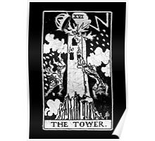 The Tower Tarot Card - Major Arcana - fortune telling - occult Poster