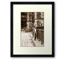 Chained Bicycles Framed Print