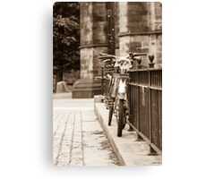 Chained Bicycles Canvas Print