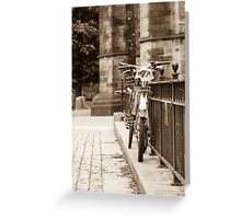 Chained Bicycles Greeting Card