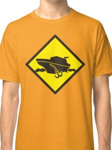 DANGER warning sign Cruise liner boat crossing Classic T-Shirt