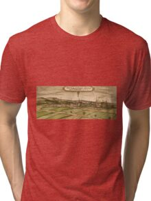 Bruhl Vintage map.Geography Germany ,city view,building,political,Lithography,historical fashion,geo design,Cartography,Country,Science,history,urban Tri-blend T-Shirt