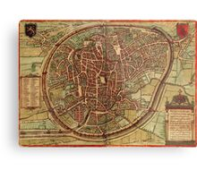 Brussels Vintage map.Geography Belgium ,city view,building,political,Lithography,historical fashion,geo design,Cartography,Country,Science,history,urban Metal Print