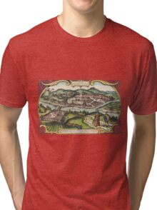 Budapest(2) Vintage map.Geography Hungary ,city view,building,political,Lithography,historical fashion,geo design,Cartography,Country,Science,history,urban Tri-blend T-Shirt