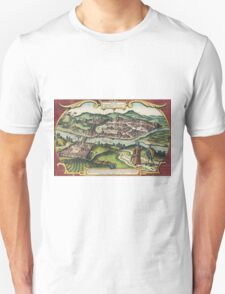 Budapest(2) Vintage map.Geography Hungary ,city view,building,political,Lithography,historical fashion,geo design,Cartography,Country,Science,history,urban Unisex T-Shirt