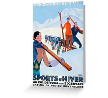Sports D'Hiver, French Travel Poster Greeting Card