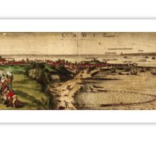 Cadiz Vintage map.Geography Spain ,city view,building,political,Lithography,historical fashion,geo design,Cartography,Country,Science,history,urban Sticker
