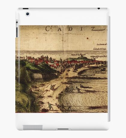 Cadiz Vintage map.Geography Spain ,city view,building,political,Lithography,historical fashion,geo design,Cartography,Country,Science,history,urban iPad Case/Skin