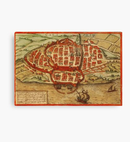 Cagliari Vintage map.Geography Italy ,city view,building,political,Lithography,historical fashion,geo design,Cartography,Country,Science,history,urban Canvas Print