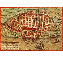 Cagliari Vintage map.Geography Italy ,city view,building,political,Lithography,historical fashion,geo design,Cartography,Country,Science,history,urban Photographic Print