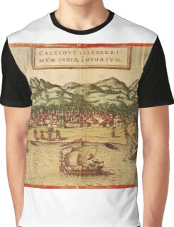 Calicut Vintage map.Geography India ,city view,building,political,Lithography,historical fashion,geo design,Cartography,Country,Science,history,urban Graphic T-Shirt
