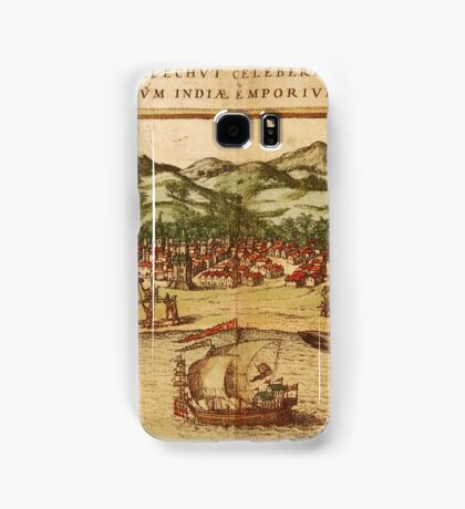 Calicut Vintage map.Geography India ,city view,building,political,Lithography,historical fashion,geo design,Cartography,Country,Science,history,urban Samsung Galaxy Case/Skin