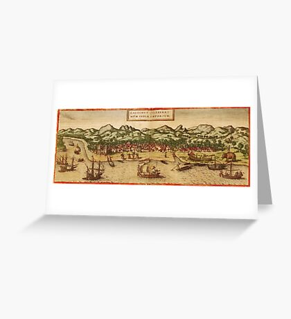 Calicut Vintage map.Geography India ,city view,building,political,Lithography,historical fashion,geo design,Cartography,Country,Science,history,urban Greeting Card