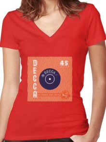 Decca Vintage Record Sleeve Vector Women's Fitted V-Neck T-Shirt