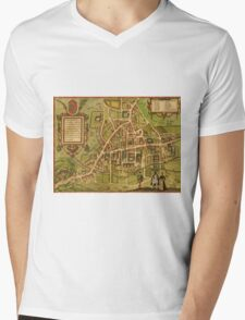 Cambridge Vintage map.Geography Great Britain ,city view,building,political,Lithography,historical fashion,geo design,Cartography,Country,Science,history,urban Mens V-Neck T-Shirt