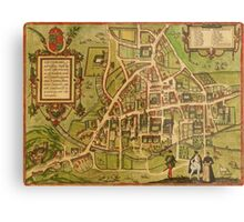 Cambridge Vintage map.Geography Great Britain ,city view,building,political,Lithography,historical fashion,geo design,Cartography,Country,Science,history,urban Metal Print