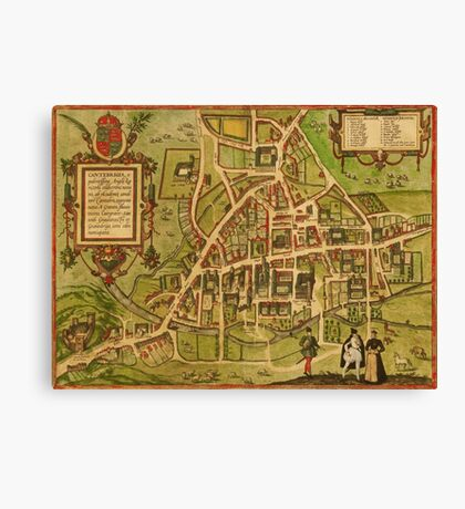 Cambridge Vintage map.Geography Great Britain ,city view,building,political,Lithography,historical fashion,geo design,Cartography,Country,Science,history,urban Canvas Print