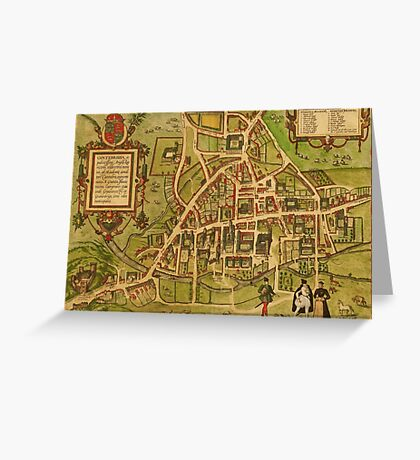 Cambridge Vintage map.Geography Great Britain ,city view,building,political,Lithography,historical fashion,geo design,Cartography,Country,Science,history,urban Greeting Card