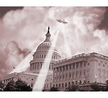 UFO Over Capital 2 (Sepia) Photographic Print
