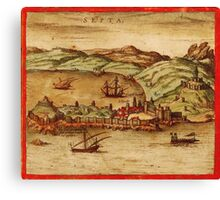 Ceuta Vintage map.Geography Spain ,city view,building,political,Lithography,historical fashion,geo design,Cartography,Country,Science,history,urban Canvas Print