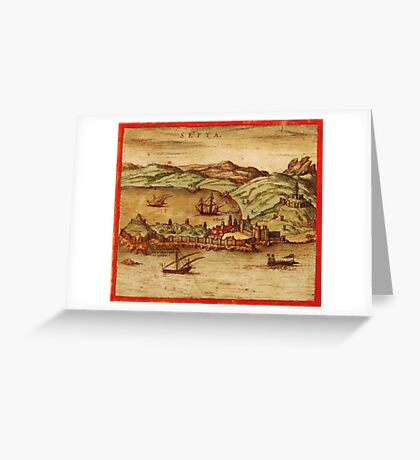 Ceuta Vintage map.Geography Spain ,city view,building,political,Lithography,historical fashion,geo design,Cartography,Country,Science,history,urban Greeting Card