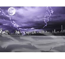 Moon and lightning over a dark city Photographic Print
