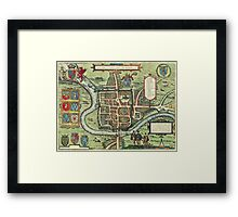 Chester Vintage map.Geography Great Britain ,city view,building,political,Lithography,historical fashion,geo design,Cartography,Country,Science,history,urban Framed Print