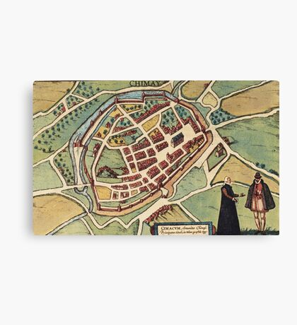 Chimay Vintage map.Geography Belgium ,city view,building,political,Lithography,historical fashion,geo design,Cartography,Country,Science,history,urban Canvas Print