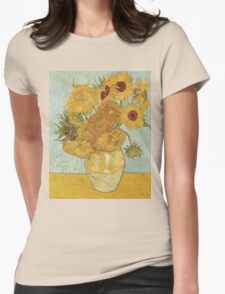 Sunflowers by Vincent Van Gogh Womens Fitted T-Shirt