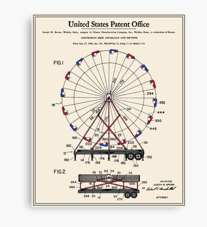 Amusement Ride Patent Canvas Print