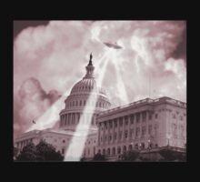 UFO Over Capital 2 (Sepia) Kids Tee