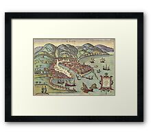 Chios Vintage map.Geography Greece ,city view,building,political,Lithography,historical fashion,geo design,Cartography,Country,Science,history,urban Framed Print