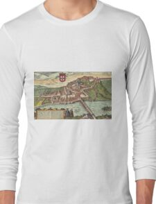 Coimbra Vintage map.Geography Portugal ,city view,building,political,Lithography,historical fashion,geo design,Cartography,Country,Science,history,urban Long Sleeve T-Shirt