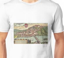 Coimbra Vintage map.Geography Portugal ,city view,building,political,Lithography,historical fashion,geo design,Cartography,Country,Science,history,urban Unisex T-Shirt