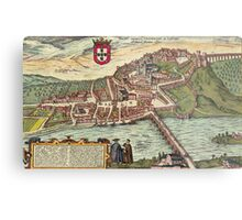 Coimbra Vintage map.Geography Portugal ,city view,building,political,Lithography,historical fashion,geo design,Cartography,Country,Science,history,urban Metal Print