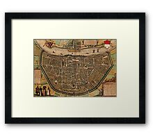 Cologne Vintage map.Geography Germany ,city view,building,political,Lithography,historical fashion,geo design,Cartography,Country,Science,history,urban Framed Print