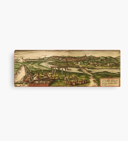 Conil Vintage map.Geography Spain ,city view,building,political,Lithography,historical fashion,geo design,Cartography,Country,Science,history,urban Canvas Print