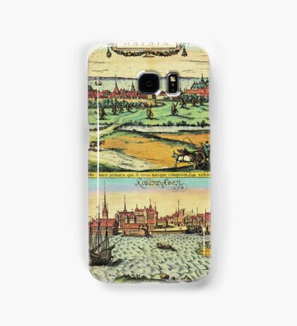 Copenhagen Vintage map.Geography Denmark ,city view,building,political,Lithography,historical fashion,geo design,Cartography,Country,Science,history,urban Samsung Galaxy Case/Skin