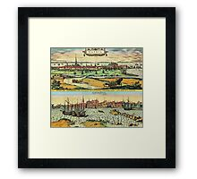 Copenhagen Vintage map.Geography Denmark ,city view,building,political,Lithography,historical fashion,geo design,Cartography,Country,Science,history,urban Framed Print