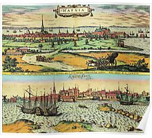 Copenhagen Vintage map.Geography Denmark ,city view,building,political,Lithography,historical fashion,geo design,Cartography,Country,Science,history,urban Poster