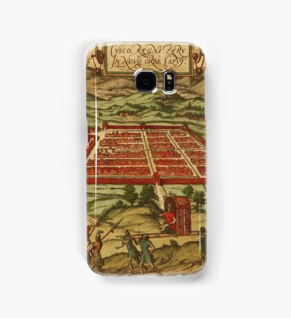 Cusco Vintage map.Geography Peru ,city view,building,political,Lithography,historical fashion,geo design,Cartography,Country,Science,history,urban Samsung Galaxy Case/Skin