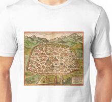 Damascus Vintage map.Geography Syria  ,city view,building,political,Lithography,historical fashion,geo design,Cartography,Country,Science,history,urban Unisex T-Shirt