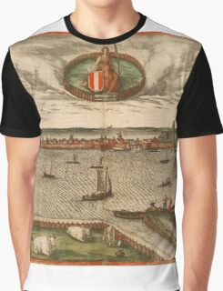 Dordrecht Vintage map.Geography Netherlands ,city view,building,political,Lithography,historical fashion,geo design,Cartography,Country,Science,history,urban Graphic T-Shirt