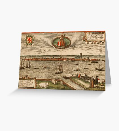 Dordrecht Vintage map.Geography Netherlands ,city view,building,political,Lithography,historical fashion,geo design,Cartography,Country,Science,history,urban Greeting Card