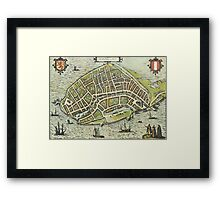 Dordrecht(2) Vintage map.Geography Netherlands ,city view,building,political,Lithography,historical fashion,geo design,Cartography,Country,Science,history,urban Framed Print