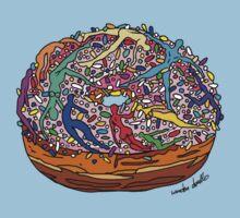 Human Donut Sprinkles Pattern One Piece - Short Sleeve