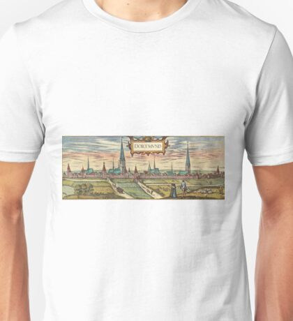 Dortmund Vintage map.Geography Germany ,city view,building,political,Lithography,historical fashion,geo design,Cartography,Country,Science,history,urban Unisex T-Shirt