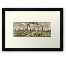 Dortmund Vintage map.Geography Germany ,city view,building,political,Lithography,historical fashion,geo design,Cartography,Country,Science,history,urban Framed Print