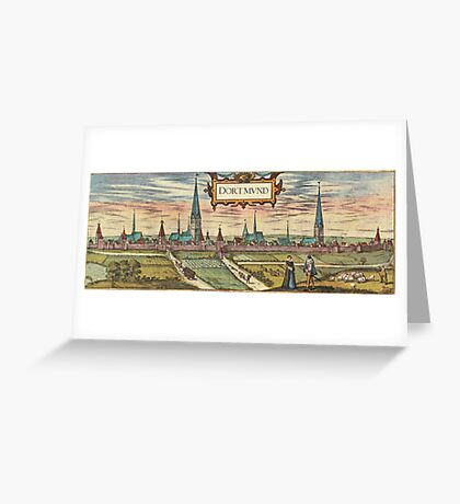 Dortmund Vintage map.Geography Germany ,city view,building,political,Lithography,historical fashion,geo design,Cartography,Country,Science,history,urban Greeting Card